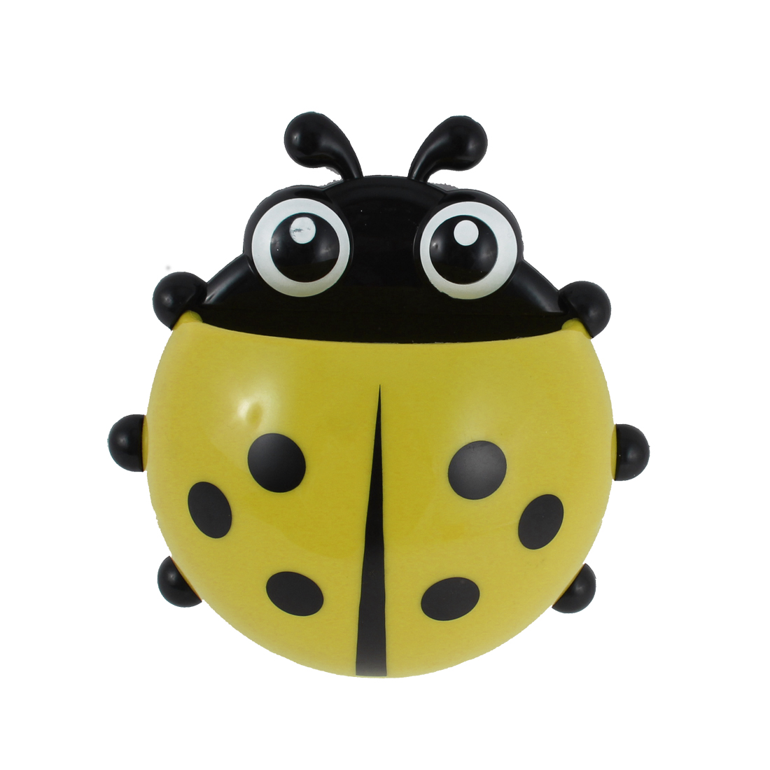 Plastic Suction Stand Ladybird Design Toothbrush Rack Holder Yellow
