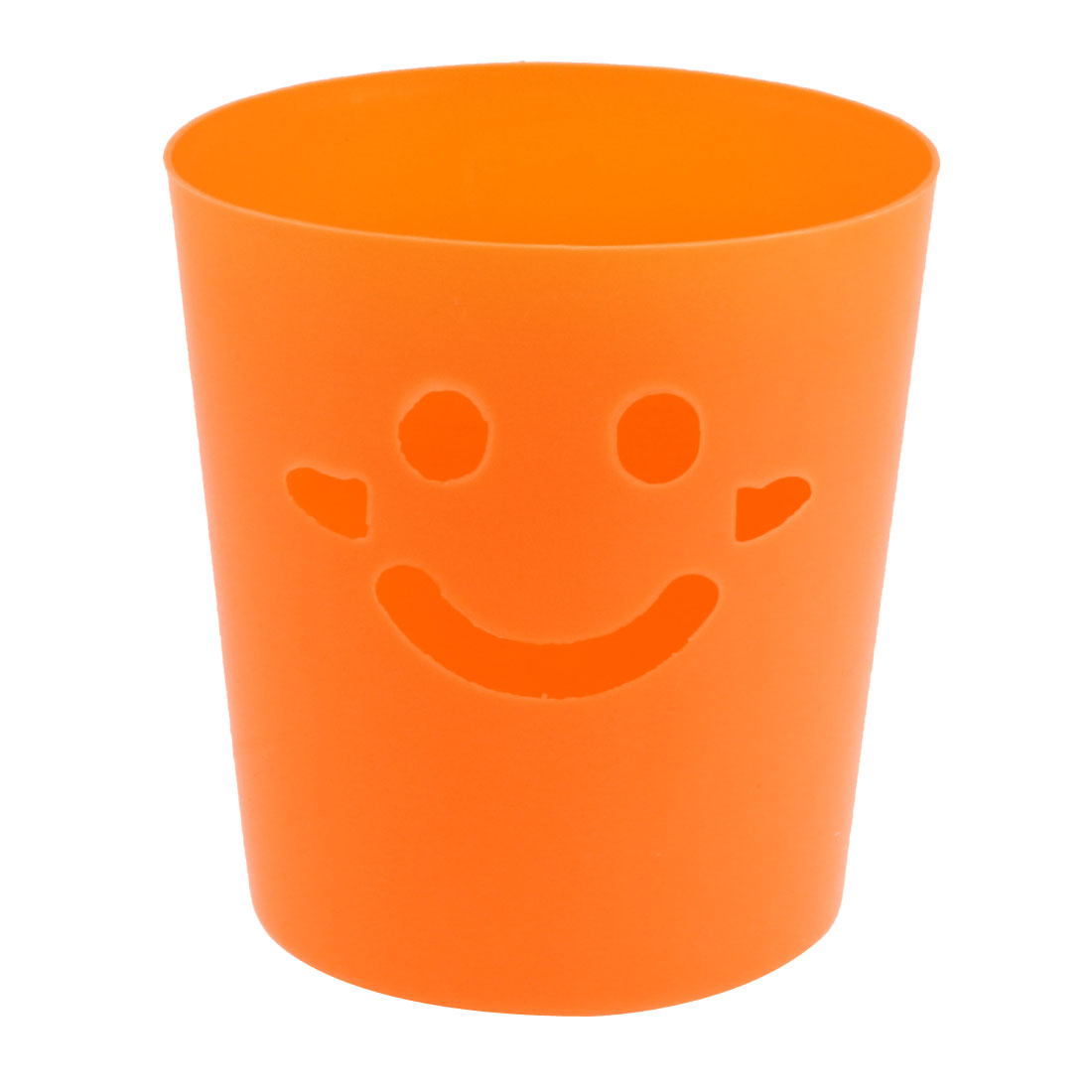 Plastic Smiling Face Design Mini Trash Can Storage Case Holder Bucket Orange