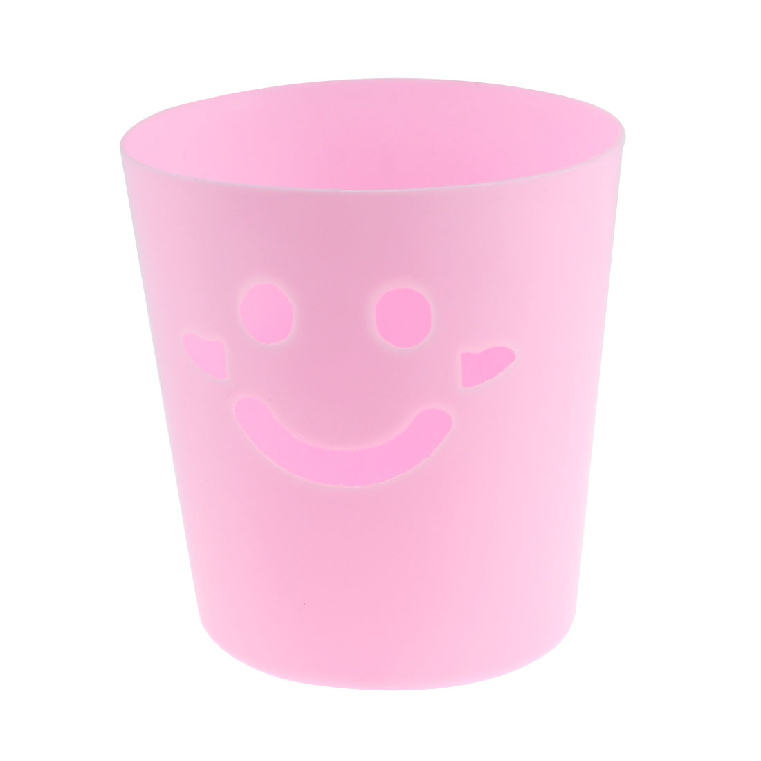 Plastic Smiling Face Design Mini Sundries Barrel Trash Can Storage Bucket Pink