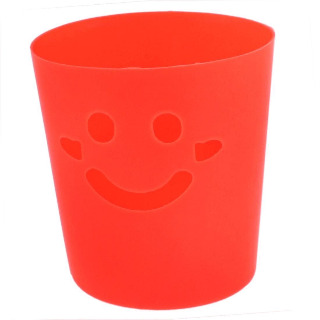 Plastic Smiling Face Design Mini Litter Trash Can Storage Bucket Orange Red