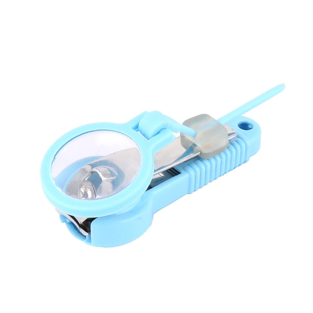 Personal Manicure Care Plastic Grip Toe Nail Clipper File w Magnifier