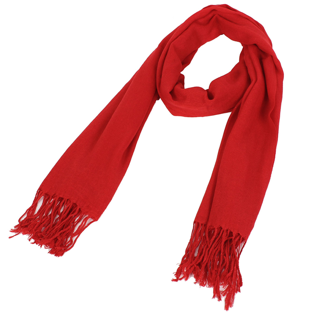 Women Lady Solid-colored Fringed Daul-use Pashmina Wrap Shawl Scarf Red