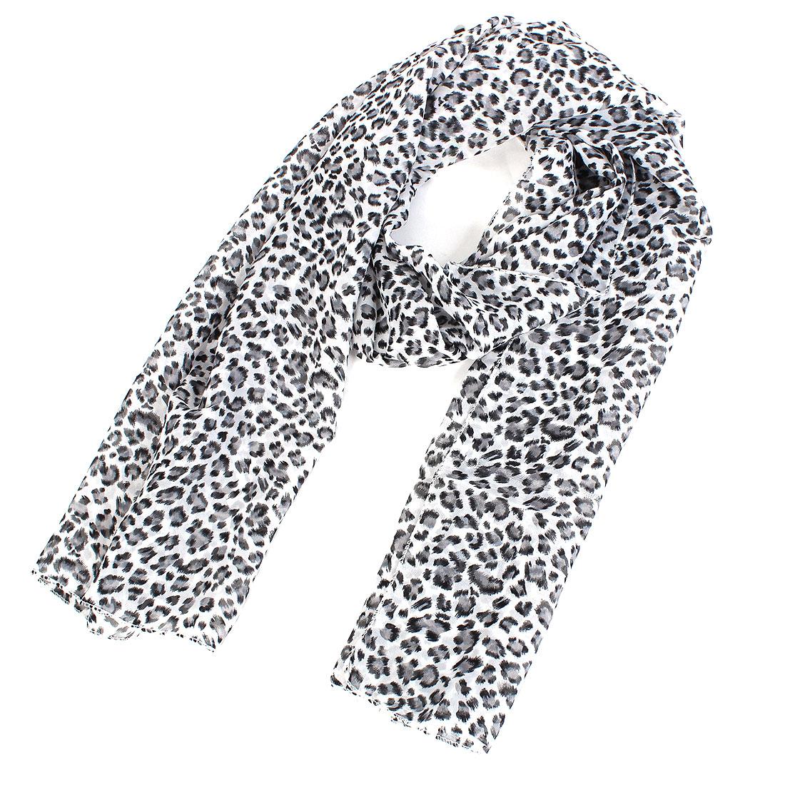 Women Lady Chiffon Leopard Print Dual-use Wrap Stole Shawl Scarf