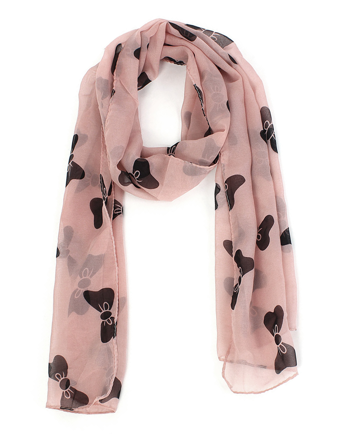 Girls Chiffon Bow-knot Print Dual-use Wrap Stole Shawl Scarf Coral Pink
