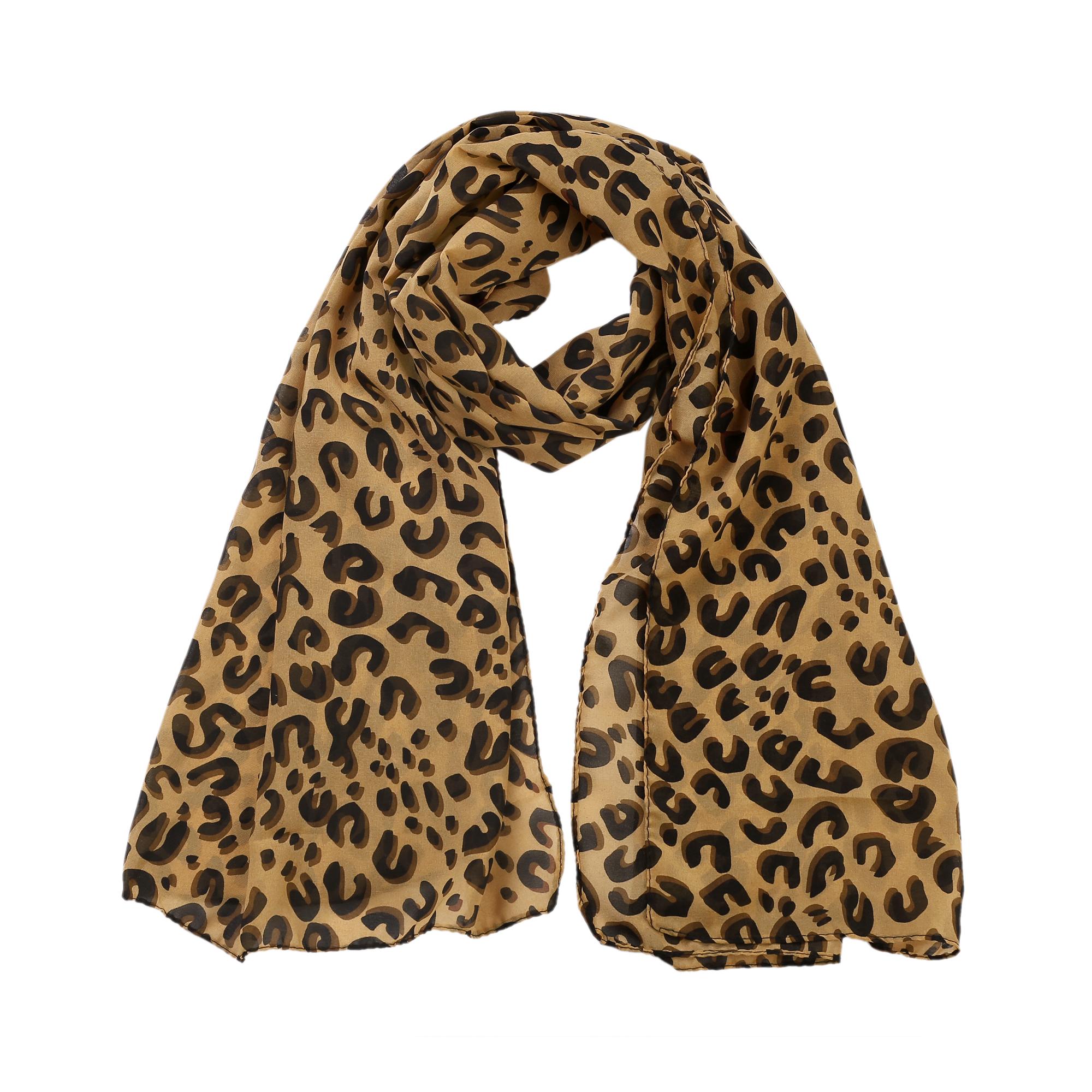 Women Neck Chiffon Leopard Cheetah Print Wrap Stole Shawl Scarf