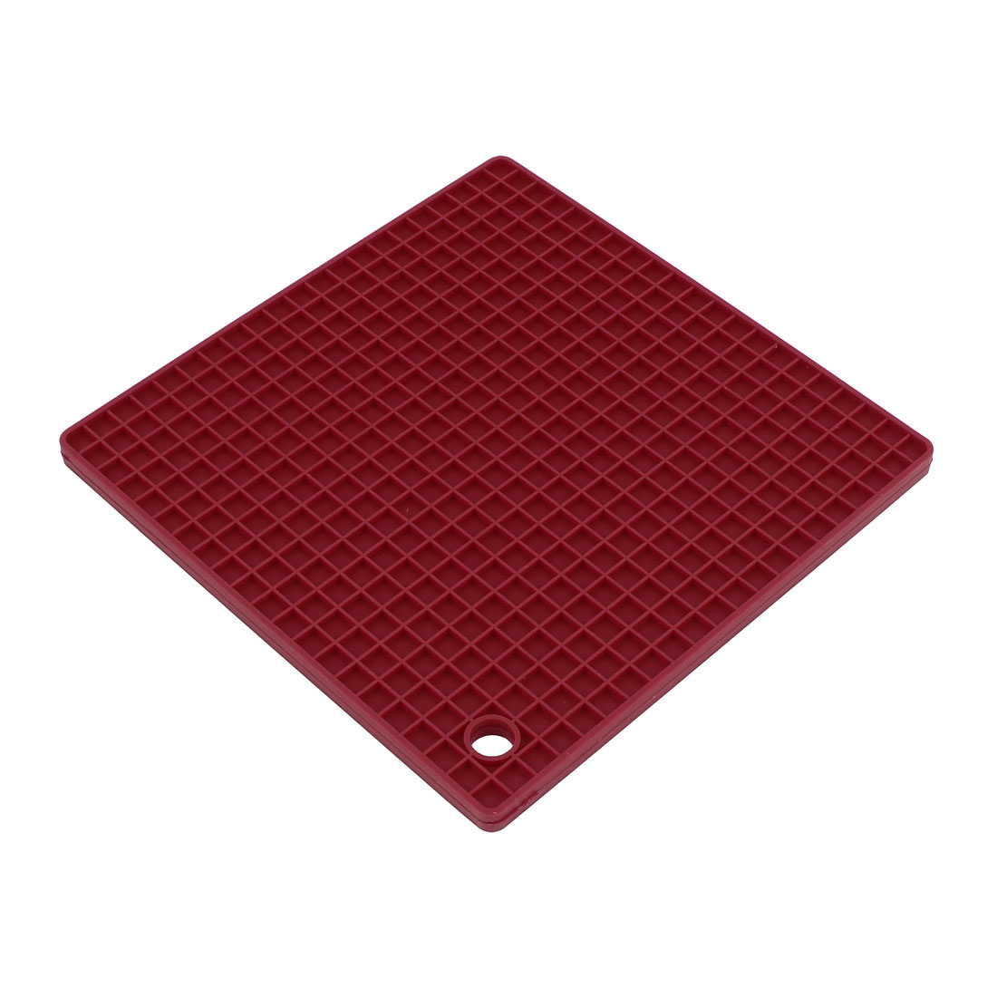 Kitchen Silicone Square Shaped Antislip Heat Resistant Pad Mat Dark Red