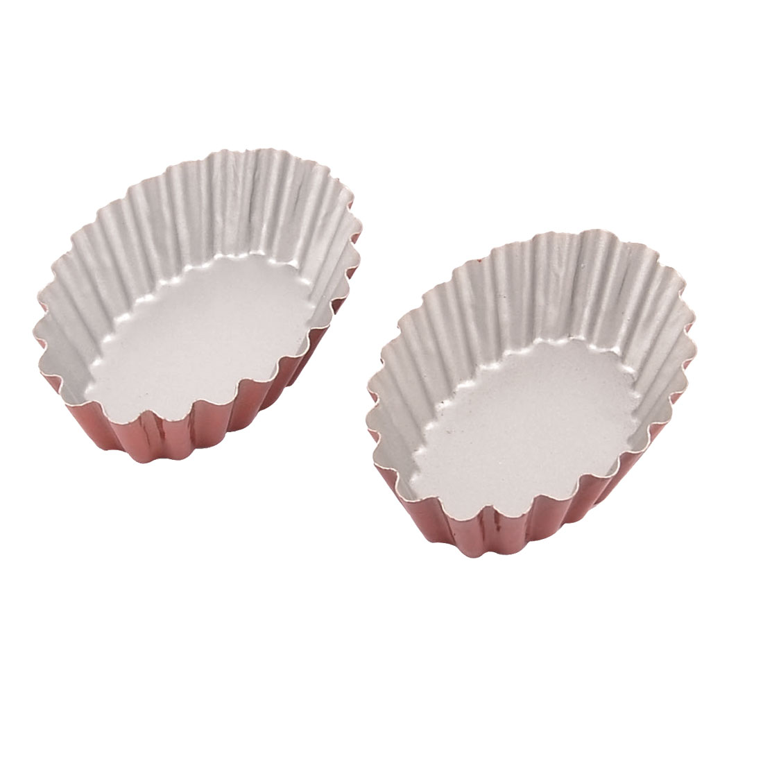 Oval Shaped Egg Tart Cupcake Cake Cookie Lined Baking Mold Tin 2pcs