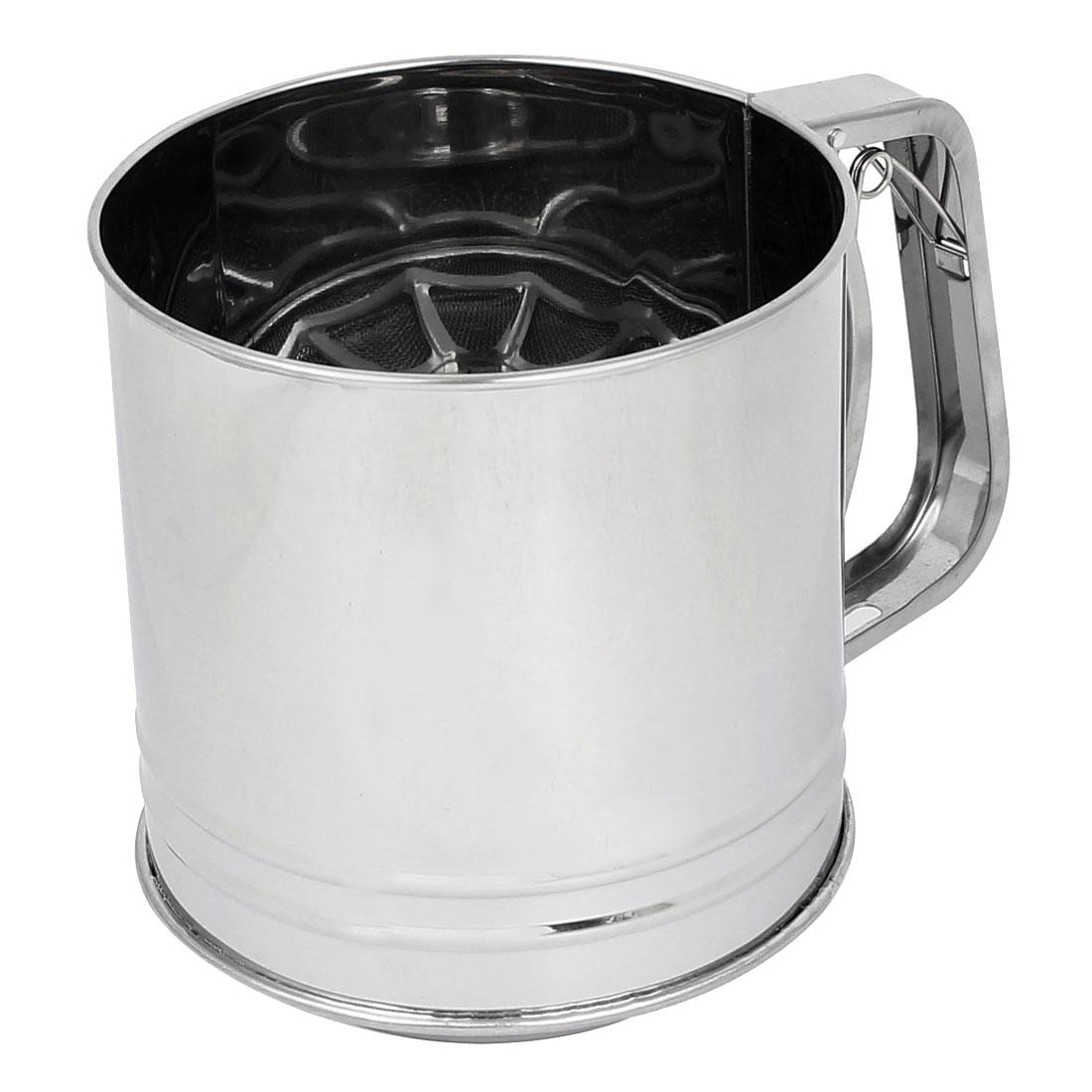 Kitchen Baking Metal Trigger Handle Flour Sugar Mesh Sifter Shaker 1000ml