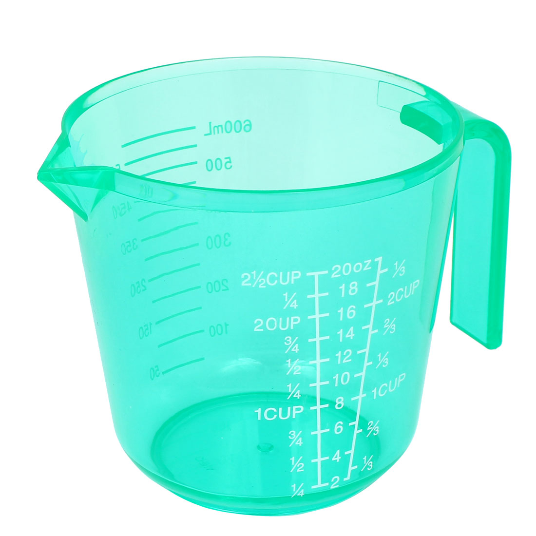 Kitchen Bakeing Plastic Water Liquid Measuring Measure Cup 600ml Clear Green