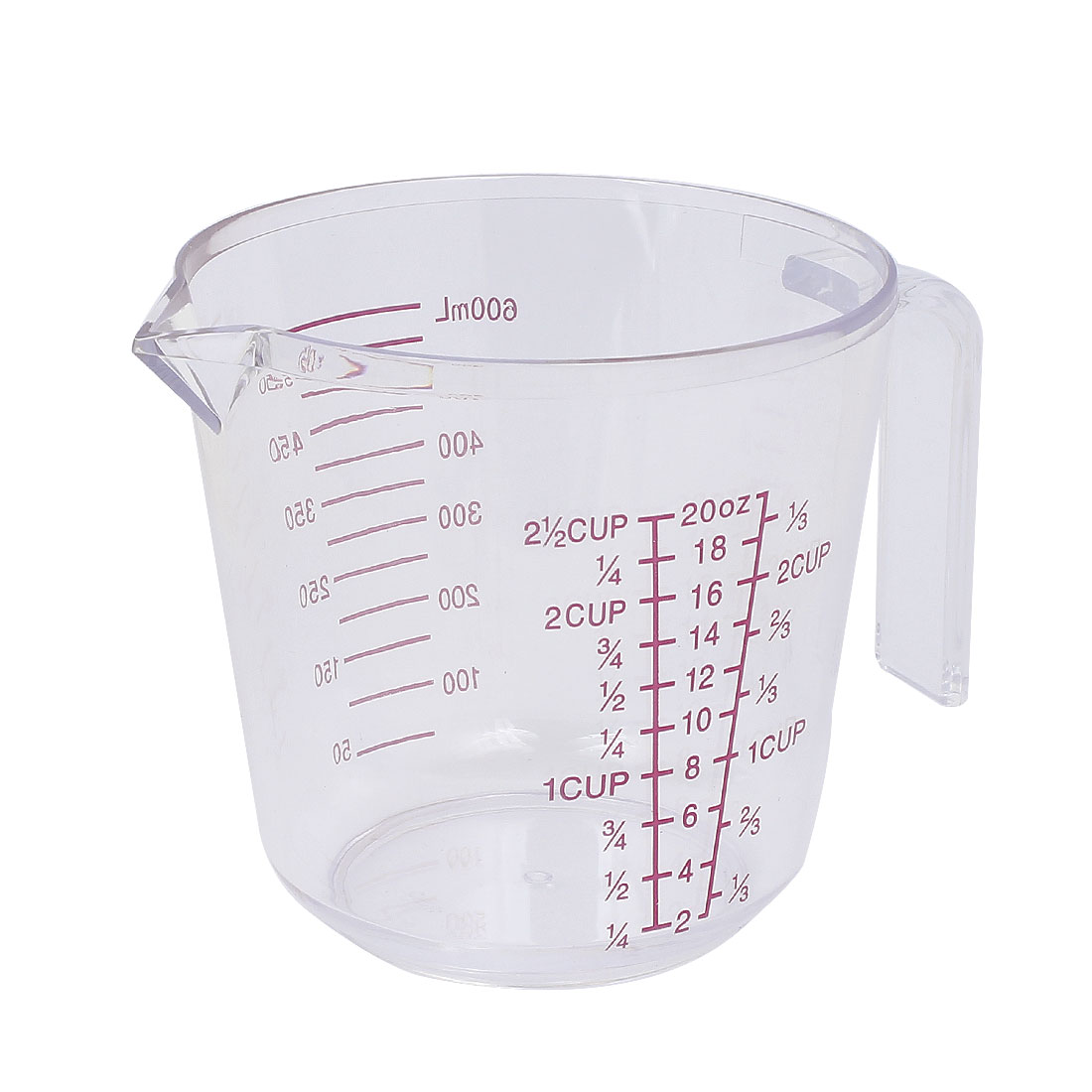 Kitchen Bakeing Plastic Water Liquid Measuring Measure Cup 600ml Clear