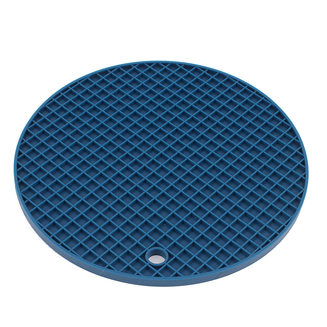 Household Silicone Round Shaped Non-slip Pot Tableware Holder Heat Resistant Mat Dark Blue