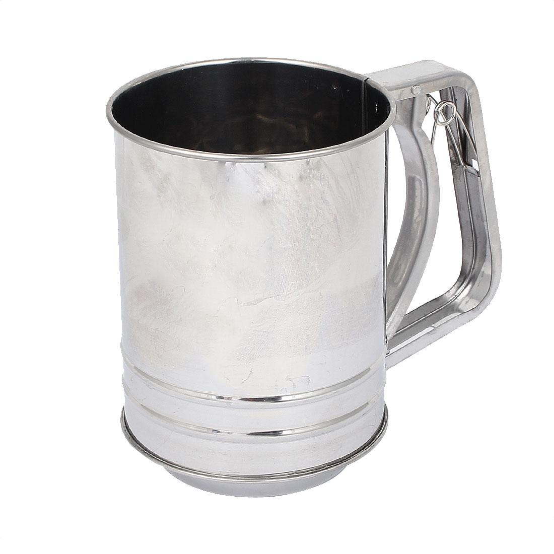 Kitchen Baking Stainless Steel Trigger Handle Flour Sugar Mesh Sifter Shaker 550ml
