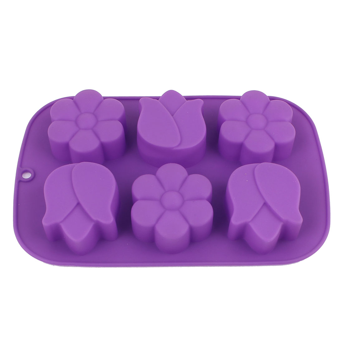Silicone 6 Cavity Flowers Shaped DIY Cake Bread Baking Mold Purple
