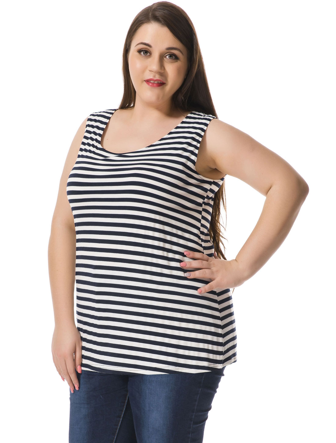 Women Plus Size Striped Top w Cut Out Bowknot Back Blue White 3X