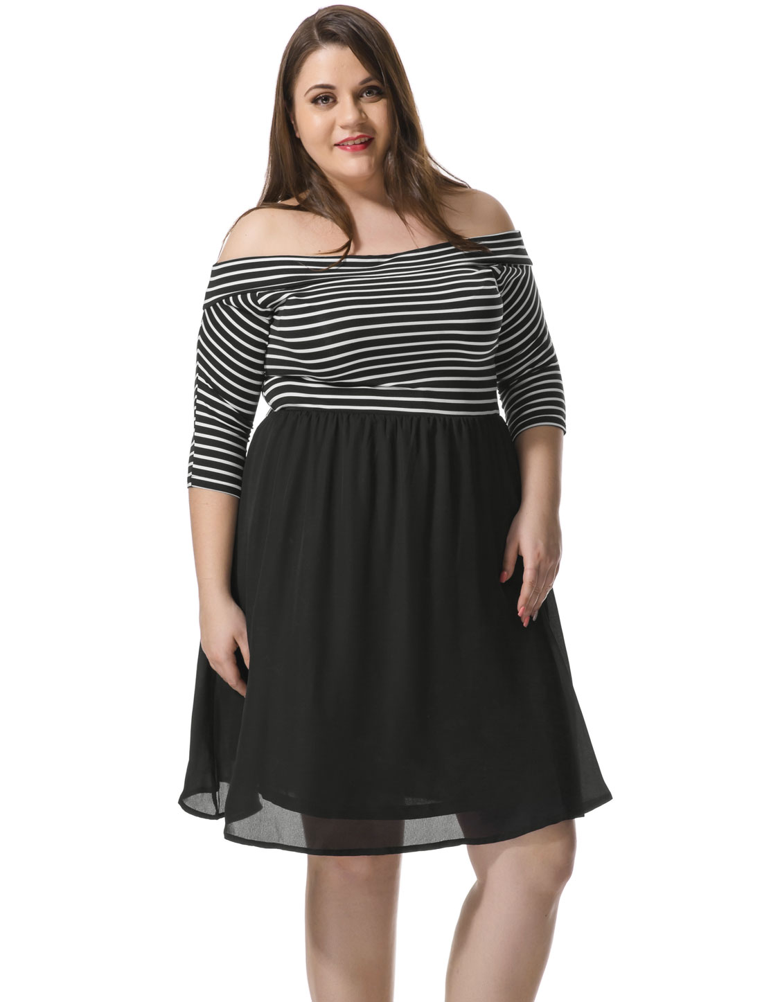 Women Plus Size Off Shoulder Striped Paneled Dress Black 2X