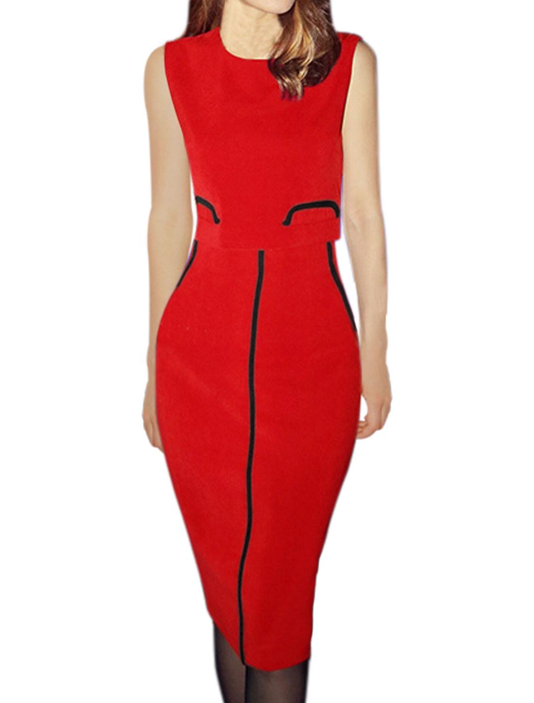 Women Sleeveless Cropped Top w High Waist Straight Skirt Sets Red S