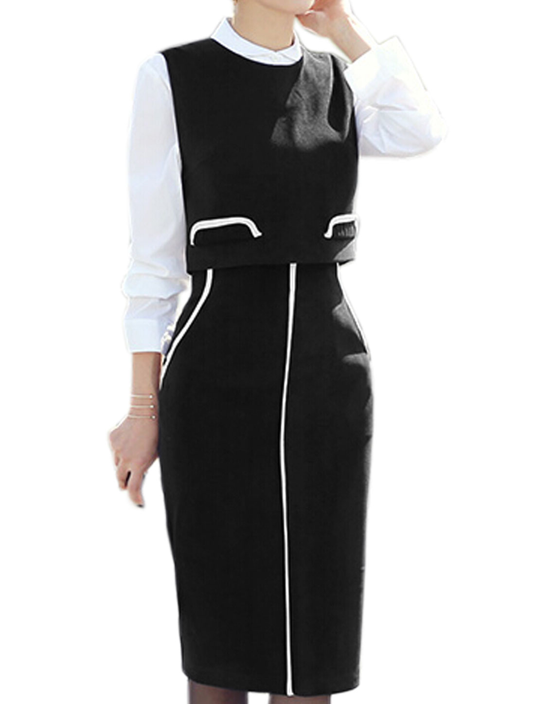 Lady Sleeveless Cropped Top w High Waist Piped Straight Skirt Sets Black S