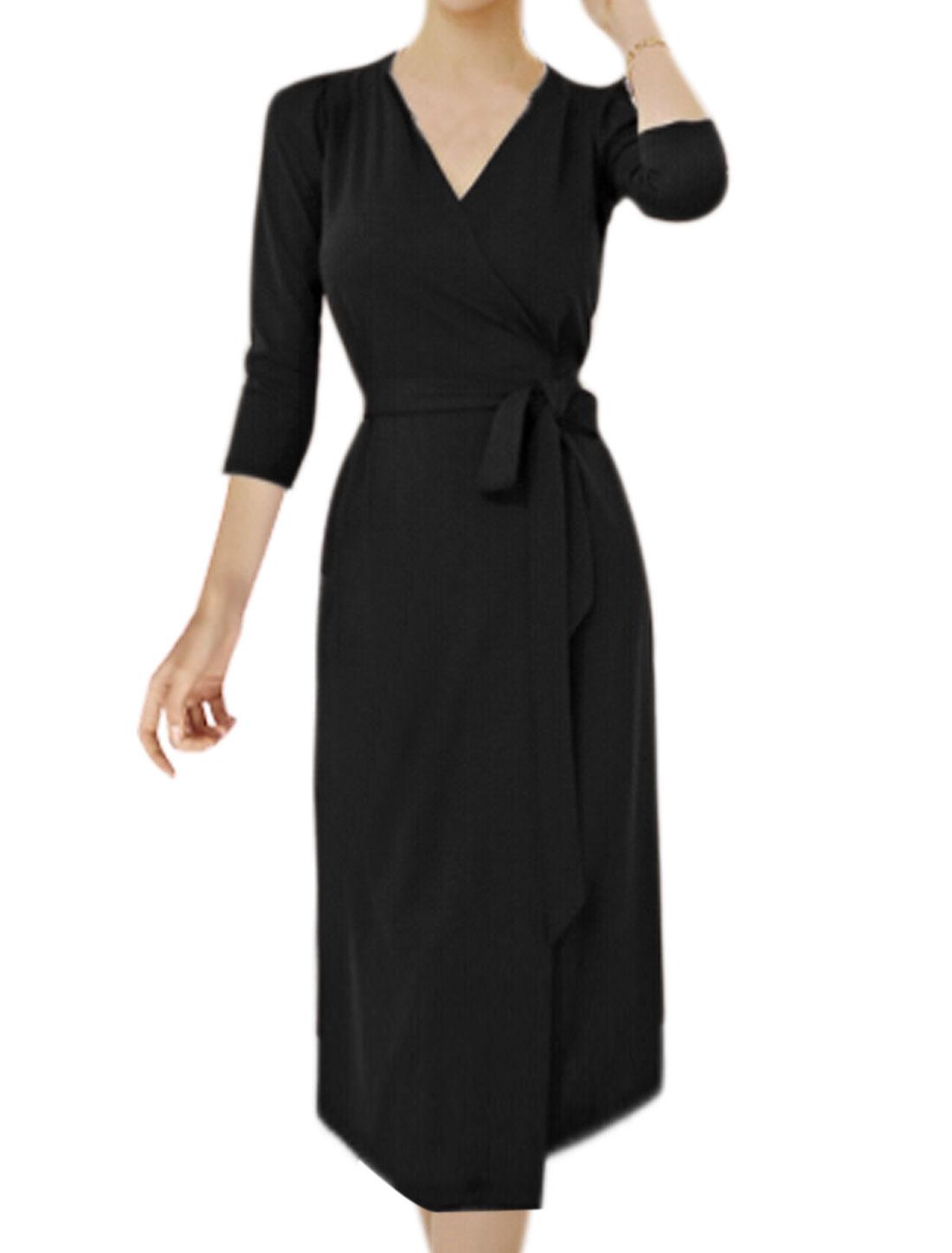 Women Long Sleeves Open Front Waist String Wrap Dress Black S