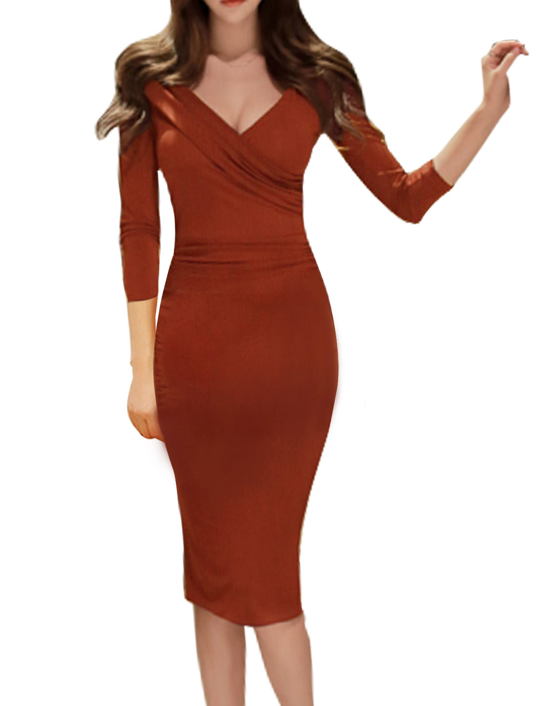 Ladies Crossover V Neck Ruched Wiggle Midi Dress Red S