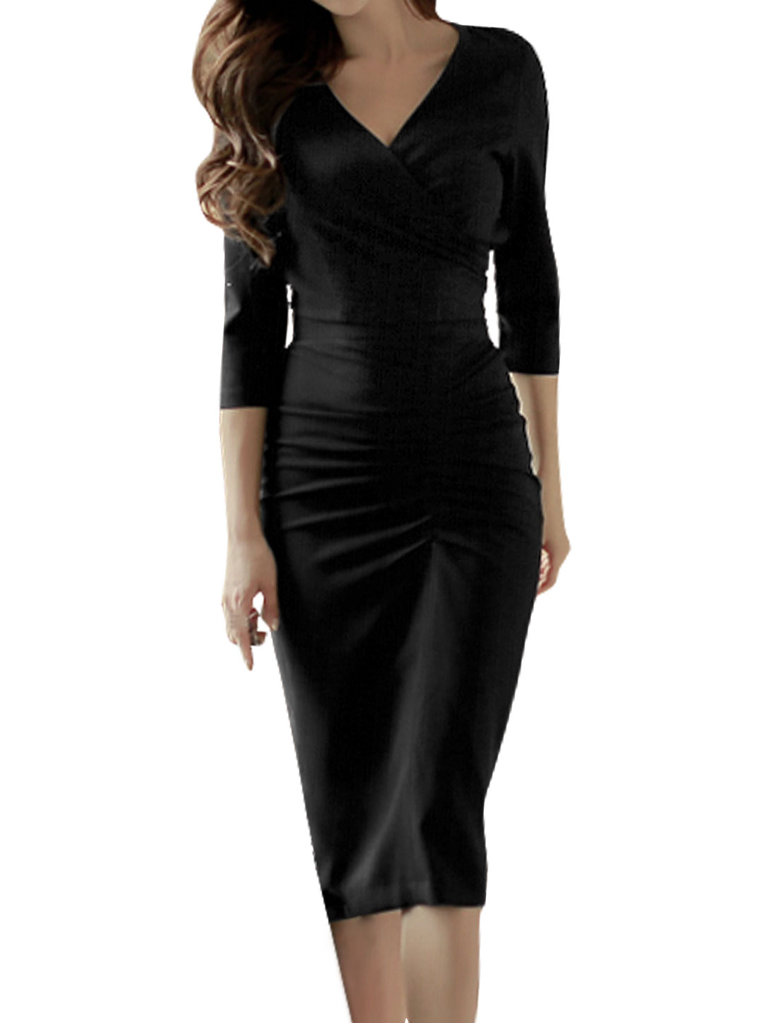 Women Crossover V Neck Crop Top w Shirred Midi Skirt Sets Black S