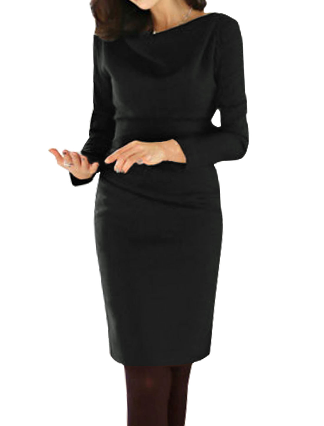 Ladies Long Sleeves Cowl Neck Ruched Sheath Dress Black M