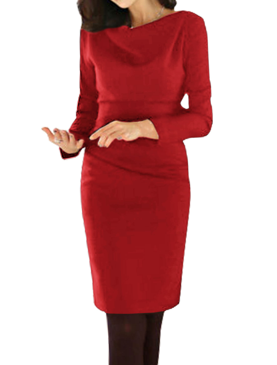 Ladies Long Sleeves Cowl Neck Ruched Sheath Dress Red M