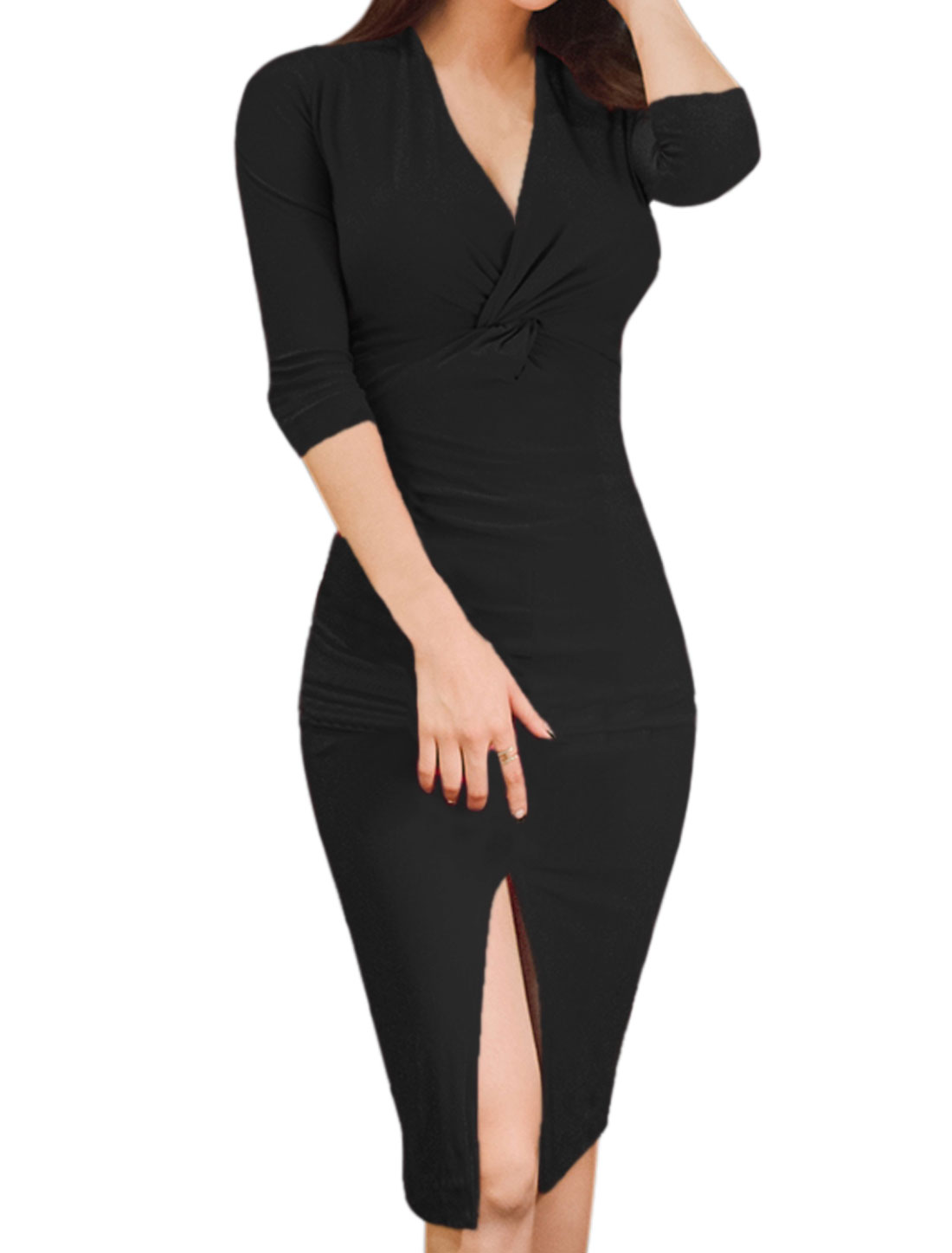 Women Crossover V Neck Knot Bust Split Hem Bodycon Dress Black XS