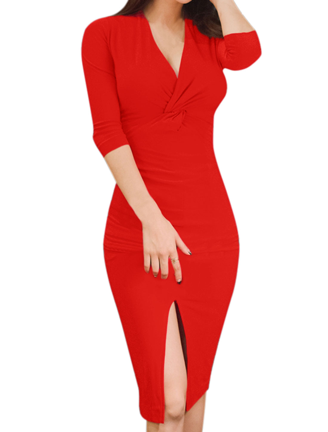 Ladies 3/4 Sleeves Knot Bust Split Hem Bodycon Dress Red XS