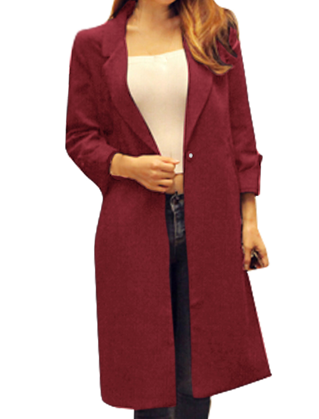 Women Long Sleeves Notched Lapel Vented Back Tunic Jacket Red S