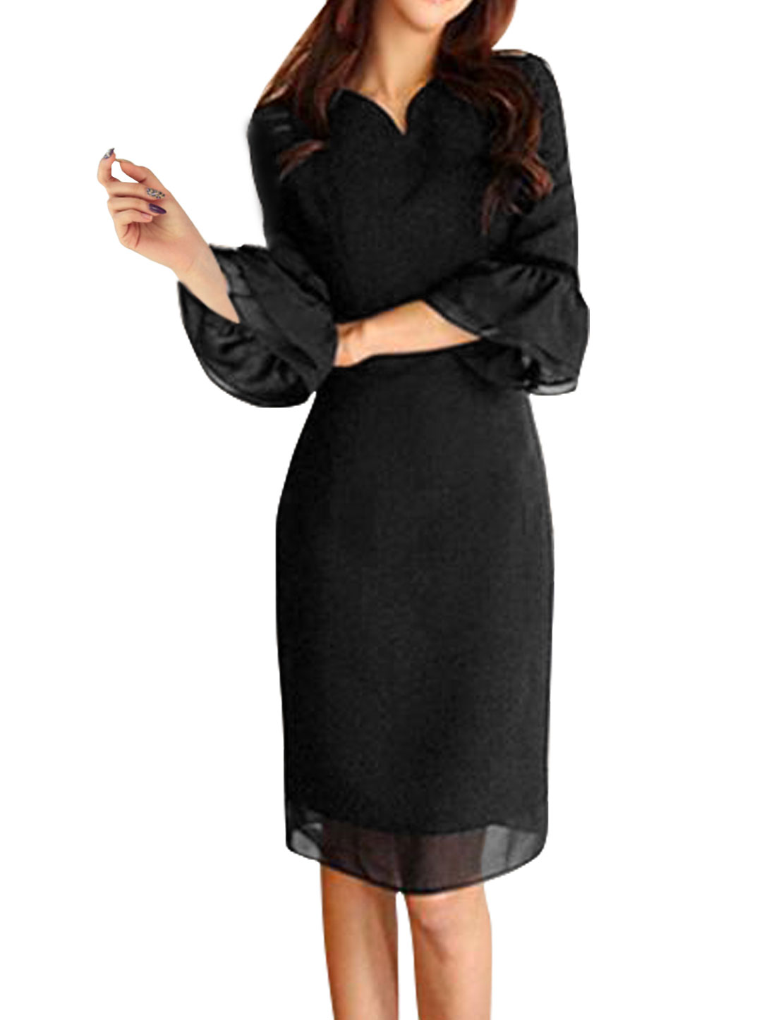 Women 3/4 Ruffled Sleeves Organza Paneled Shift Dress Black S