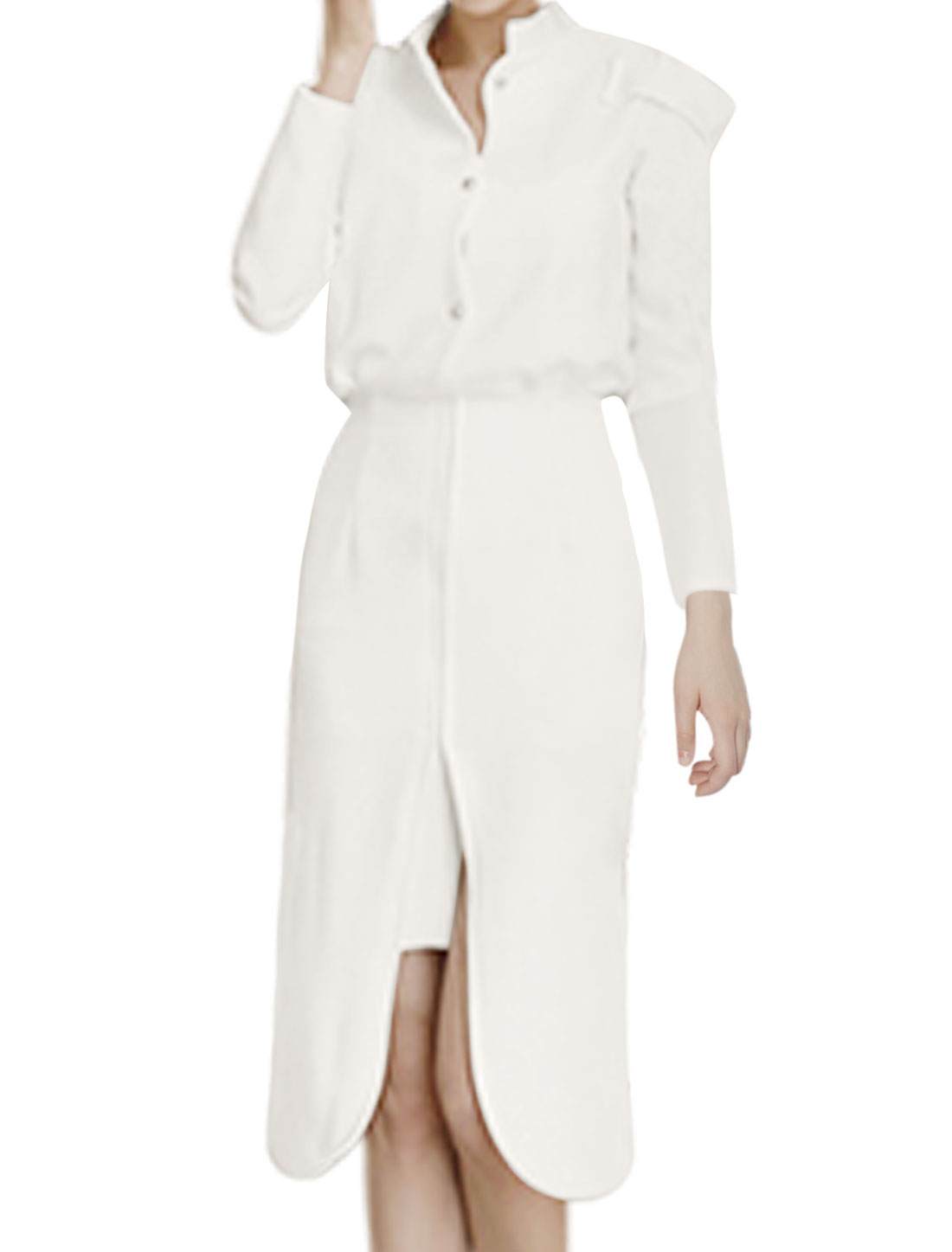 Women Button Tab Epaulets Half Placket Split Front Layered Midi Dress White S
