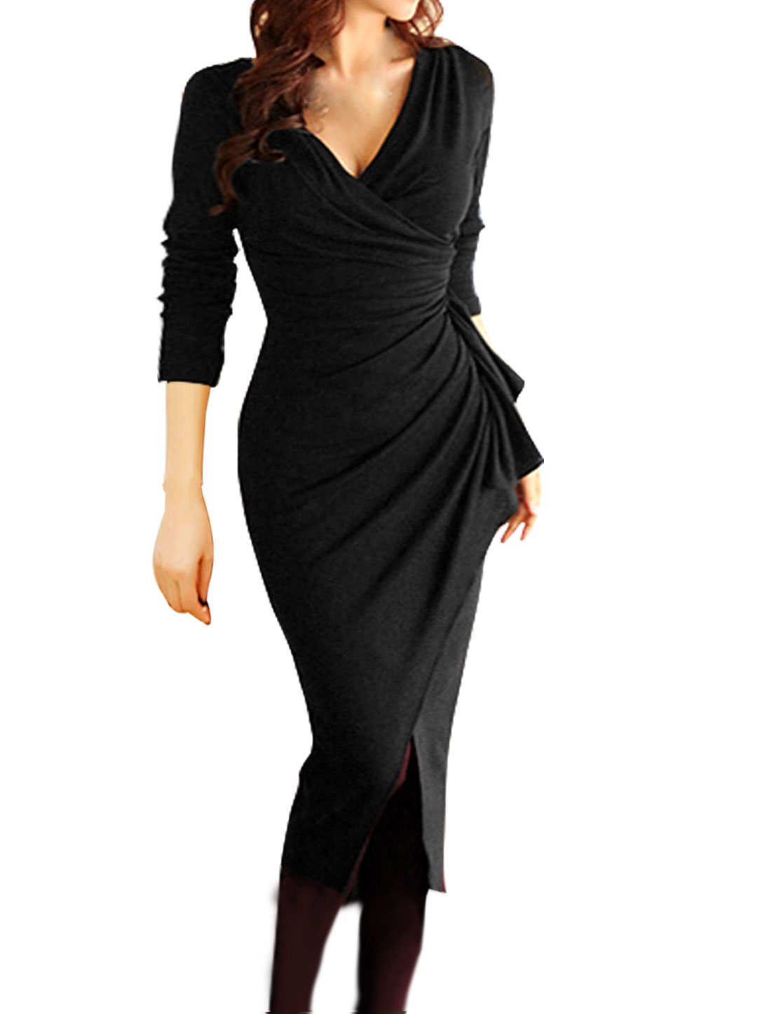 Women Wrap Design Ruffled Split Front Bodycon Midi Dress Black S