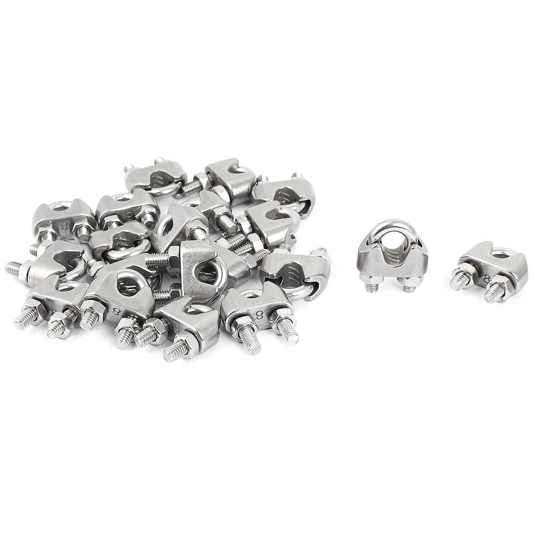Metal Saddle Clamp Cable Clip Silver Tone 20 Pcs for 8mm Wire Rope