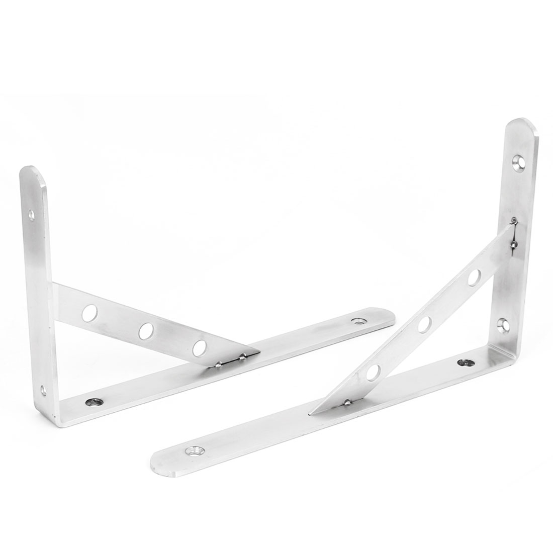 "10"" Long Stainless Steel L Shaped Right Angle Shelf Brackets 2 Pcs"