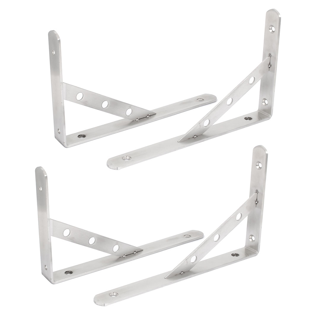 "10"" Long Stainless Steel L Shaped Right Angle Shelf Brackets 4 Pcs"