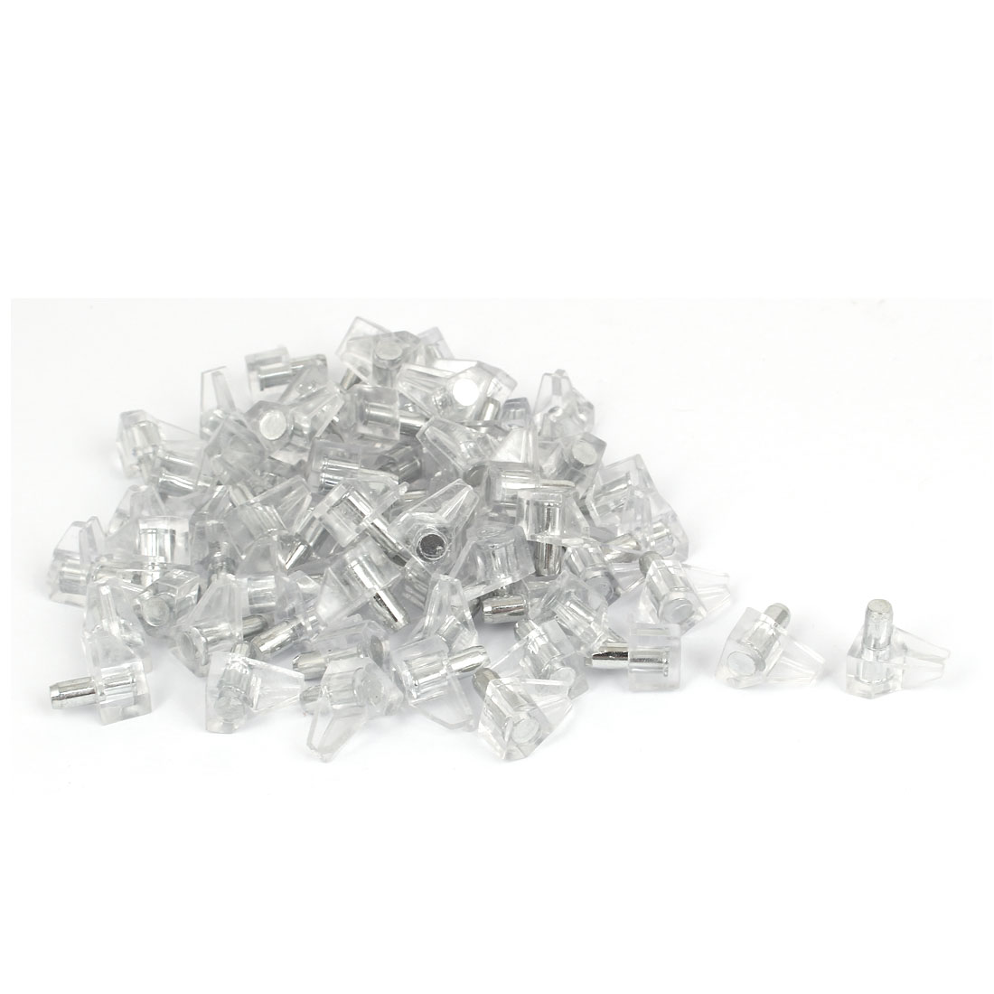 5mm Dia Metal Peg Pin Clear Plastic Shelf Glass Support Studs 70 Pcs