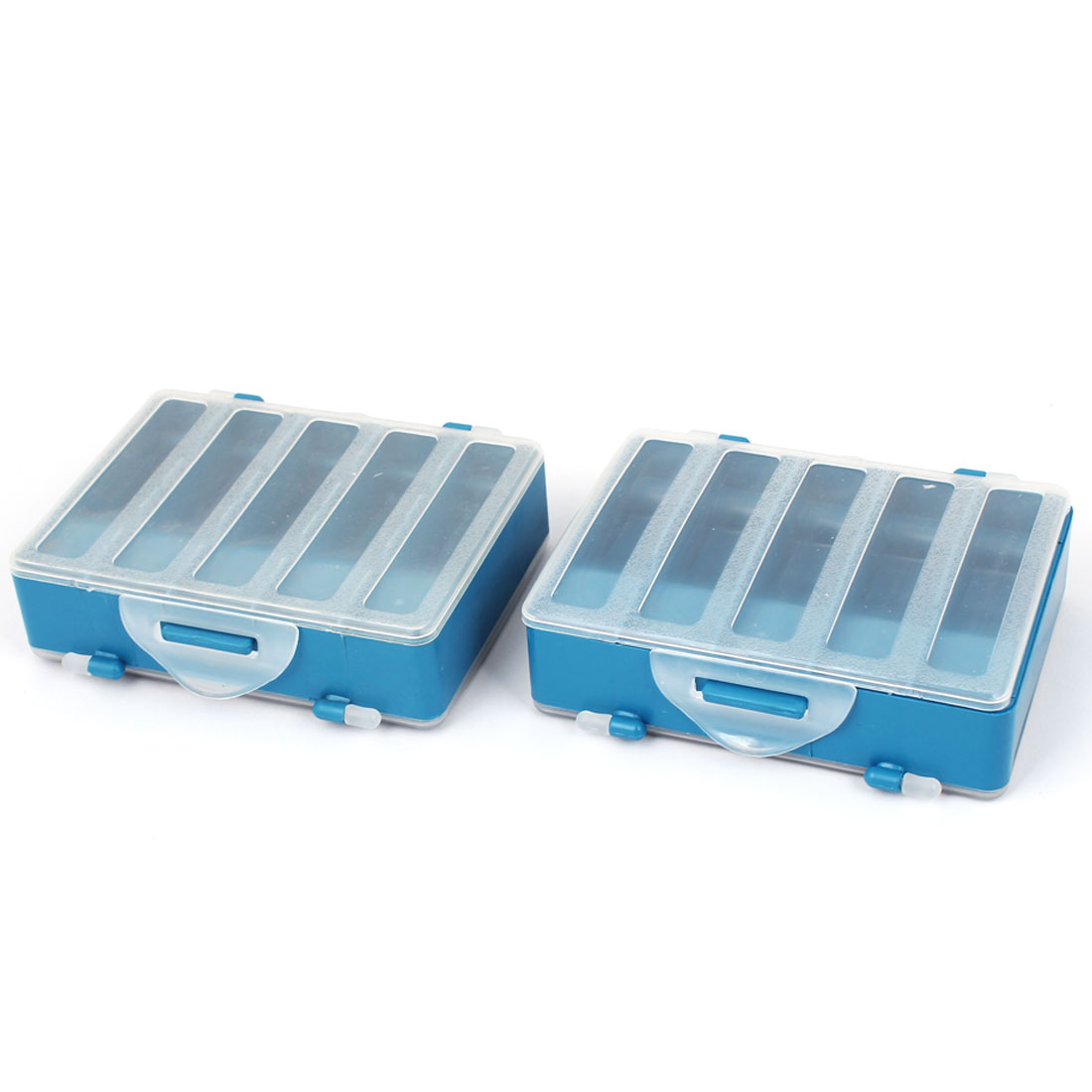 Plastic Two Sided 10-Compartment Fishing Tackle Storage Case Box 2 Pcs