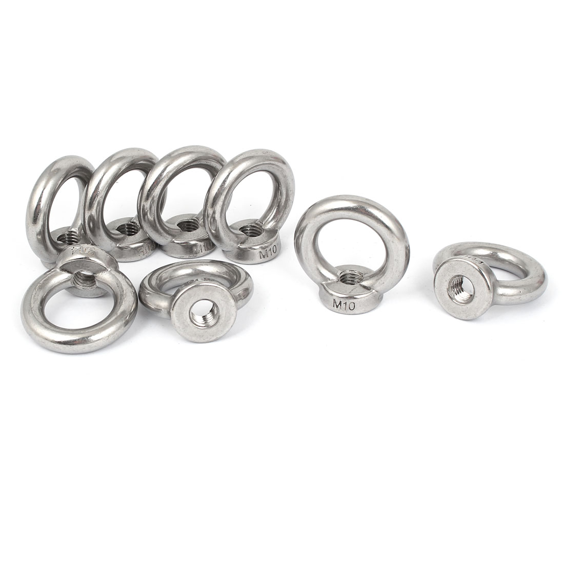 M10 Female Thread 304 Stainless Steel Lifting Eye Nuts Ring 8 Pcs
