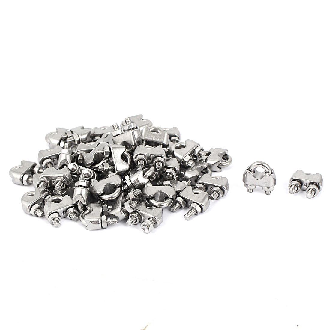Metal Saddle Clamp Cable Clip Silver Tone 50 Pcs for 4mm Wire Rope