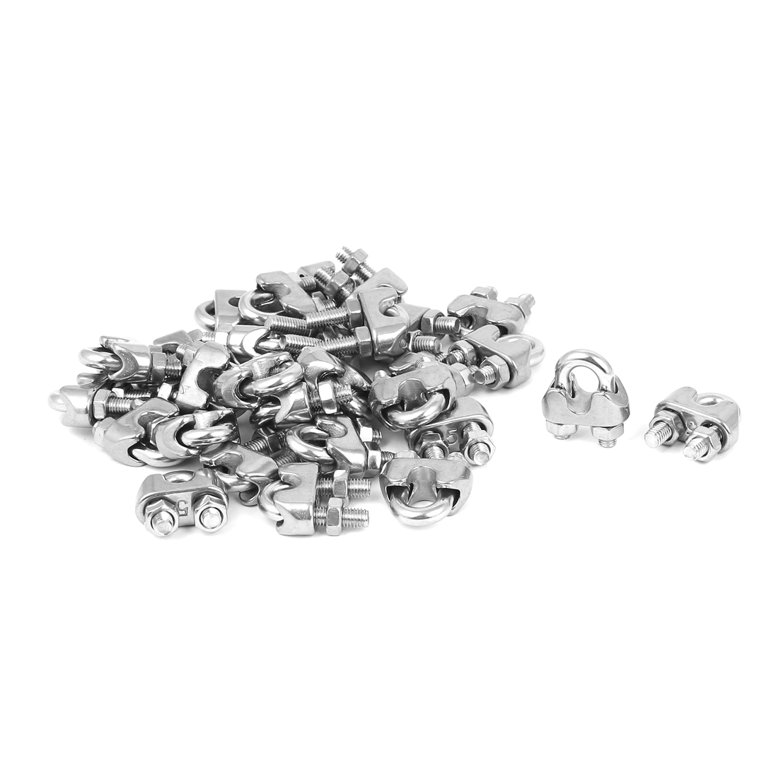 Metal Saddle Clamp Cable Clip Silver Tone 30 Pcs for 5mm Wire Rope