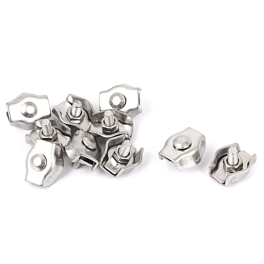 M3 Stainless Steel Simplex Wire Rope Clip Cable Clamps 10 Pcs