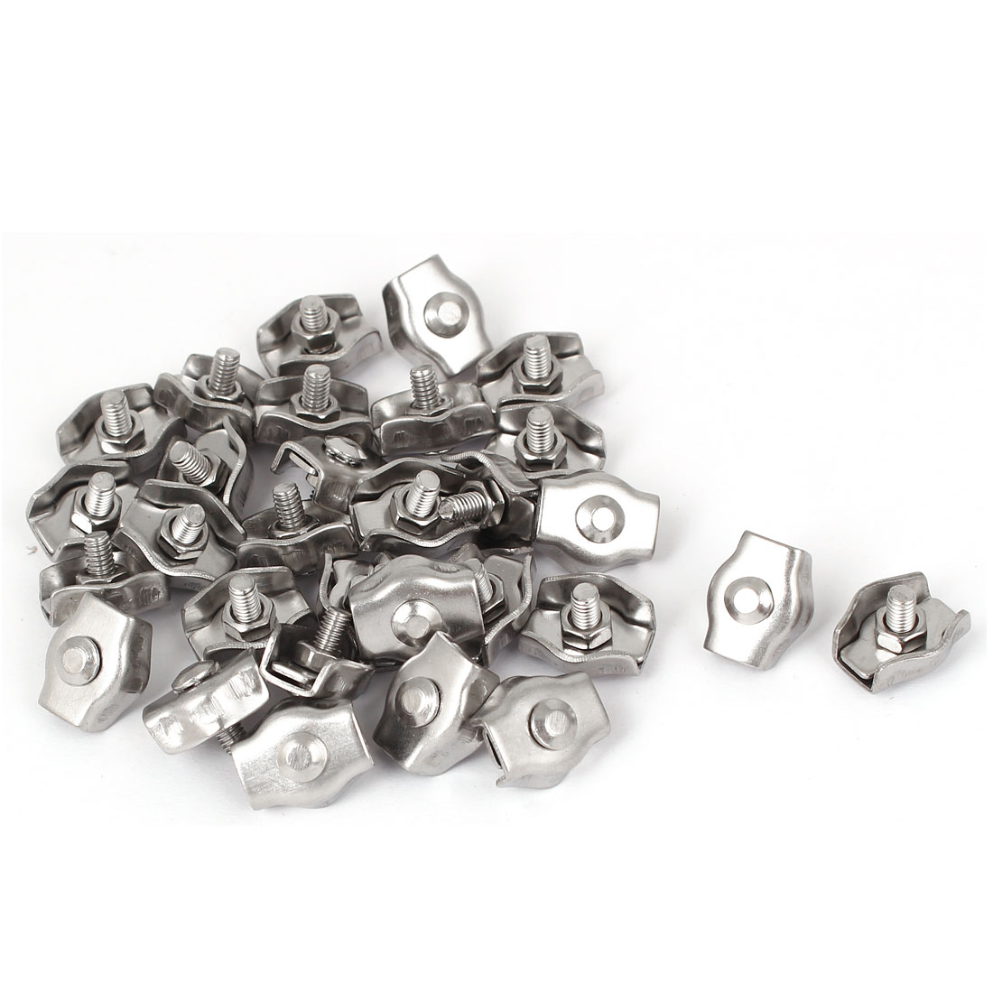 Stainless Steel Simplex Single Bolt Clip Cable Clamp 30 Pcs for 3mm Wire Rope