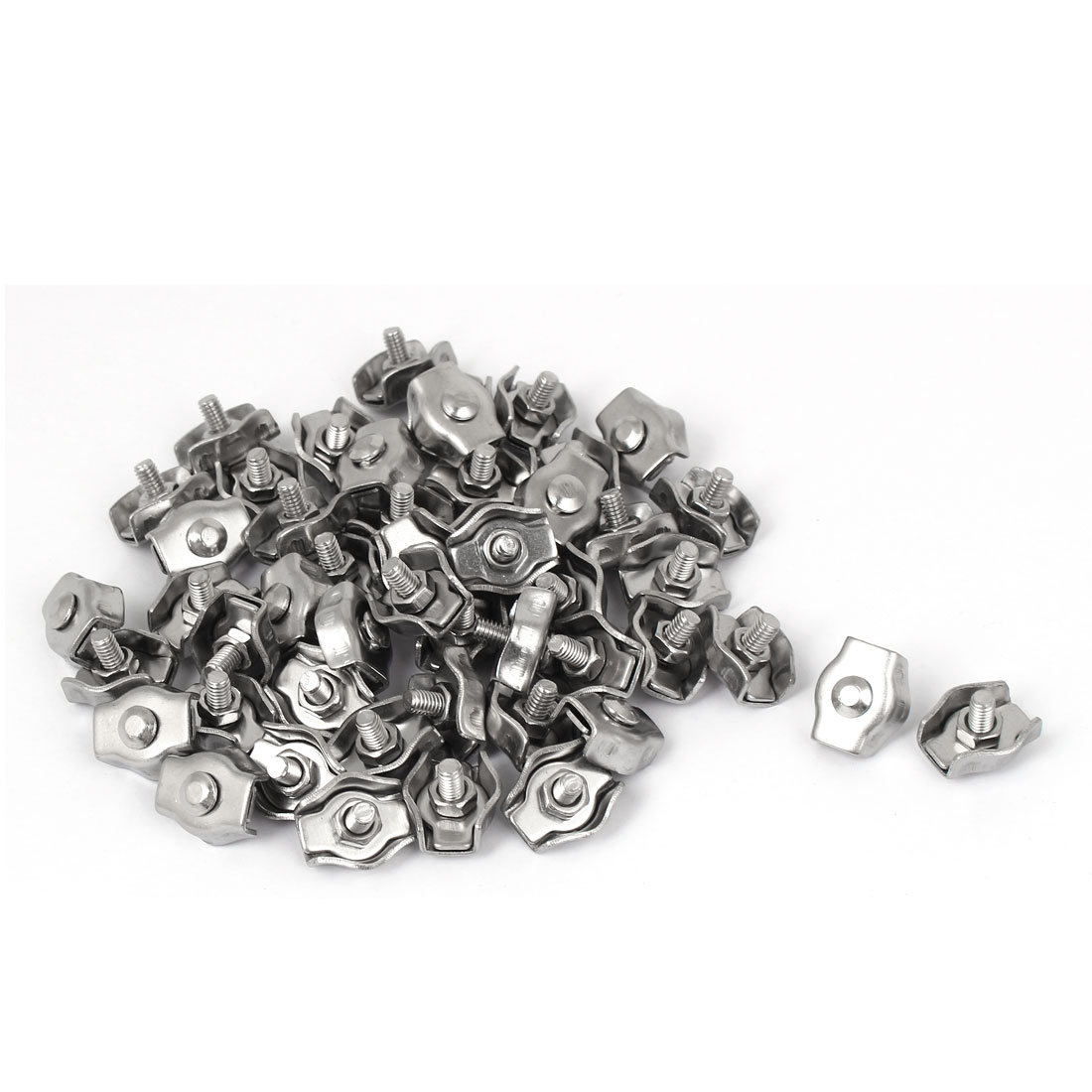 Stainless Steel Simplex Single Bolt Clip Cable Clamp 50 Pcs for 3mm Wire Rope