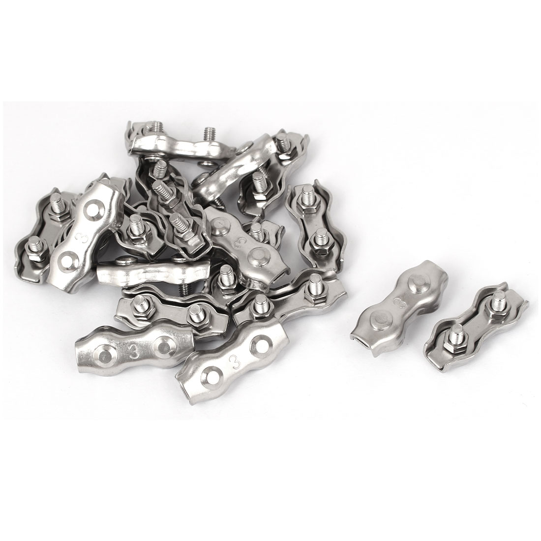 Stainless Steel Duplex 2-Post Clip Cable Clamp 20 Pcs for 3mm Wire Rope