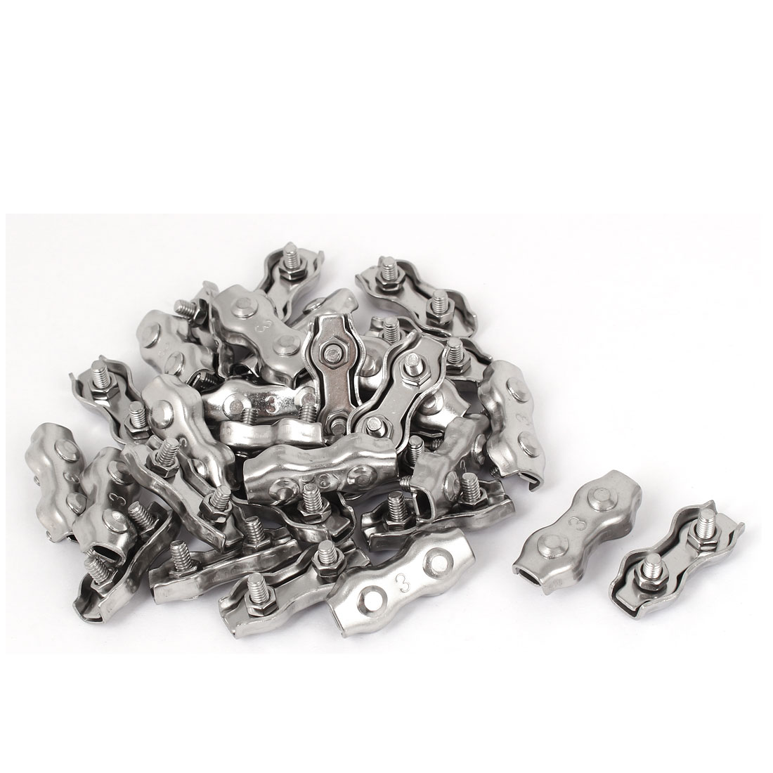M3 Stainless Steel Duplex 2-Post Wire Rope Clip Cable Clamp 30 Pcs