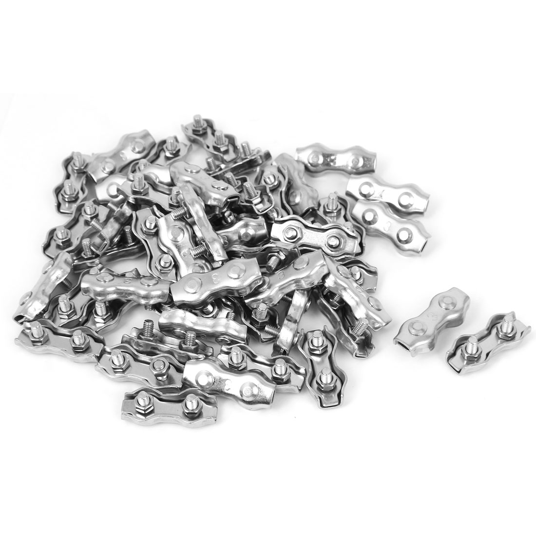 Stainless Steel Duplex 2-Post Clip Cable Clamp 50 Pcs for 3mm Wire Rope