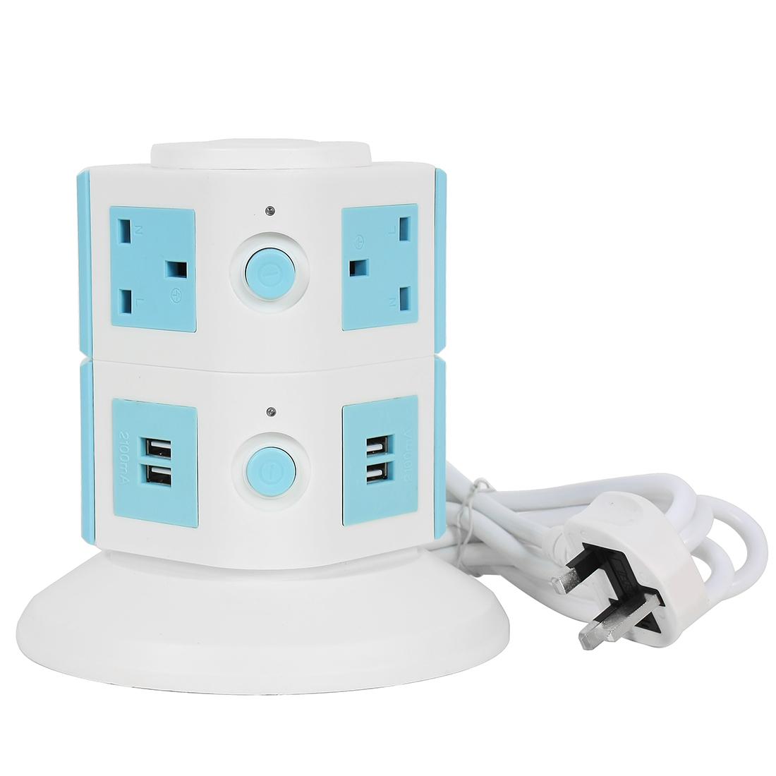 AC250V UK Plug Vertical Smart Socket 6 UK Outlet 4 USB Ports 6 Ft Cable White Blue