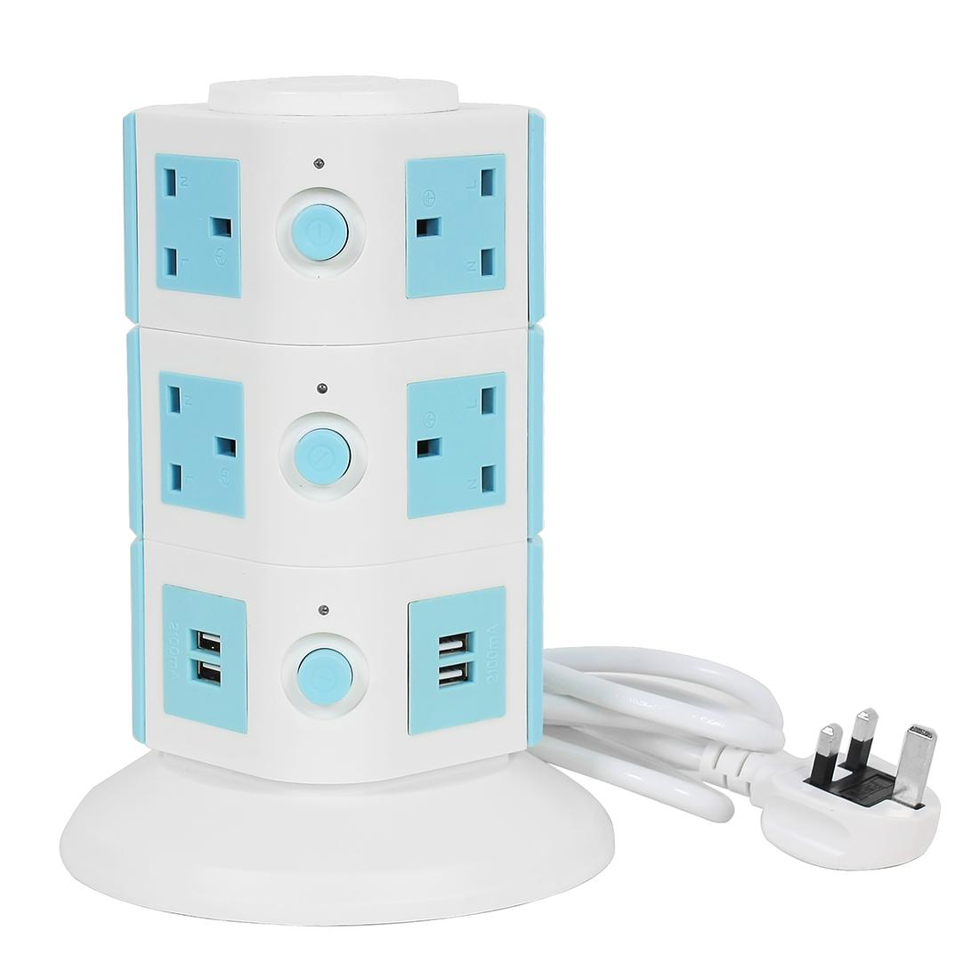 AC250V UK Plug Vertical Smart Socket 10 UK Outlet 4 USB Ports 6 Ft Cable White Blue