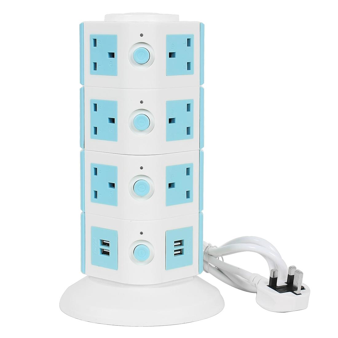 AC250V UK Plug Vertical Smart Socket 14 UK Outlet 4 USB Ports 6 Ft Cable White Blue