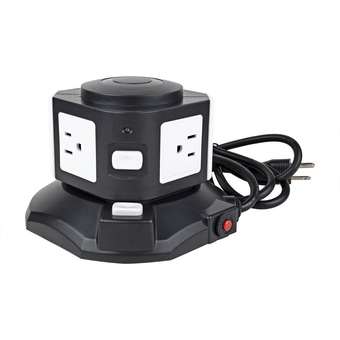 AC 110V US Plug Vertical Smart Socket 2 US Outlets 4 USB Ports 6 Ft Cable White Black